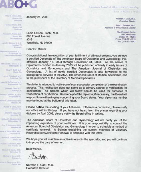 Letter From The American Board Of Obstetrics And Gynecology In