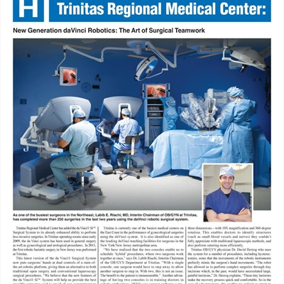 Trinitas Regional Medical Center: New Generation DaVinci Robotics - The Art of Surgical Teamwork